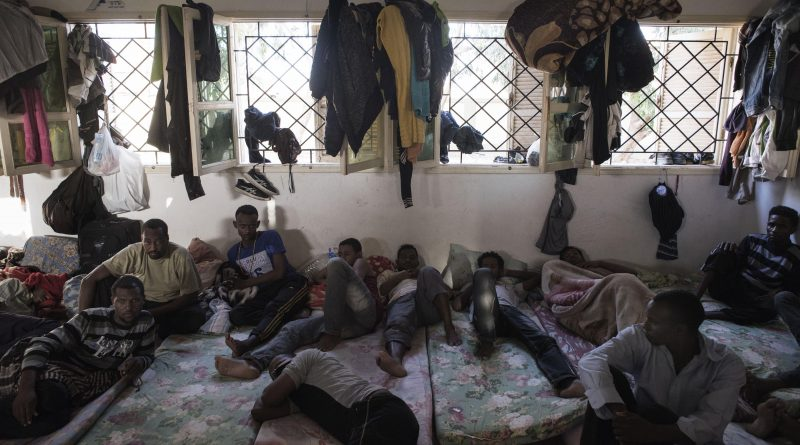 Libya, Misurata district: Illegal workers accused of being clandestine are seen inside an overcrowded cell at Al Kararem detention center on May 16, 2015. Alessio Romenzi/CESURA