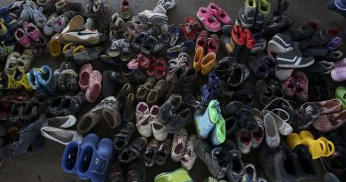 A pile of children shoes captured during  refugees crisis. Refugee crisis. Budapest, Hungary, Central Europe, 6 September 2015.