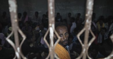 Libya, Zawiya District: migrants captured at the sea as they were attempting to reach Italy are seen inside an overcrowded cell at Zawiya detention center on May 13, 2015. Alessio Romenzi/CESURA